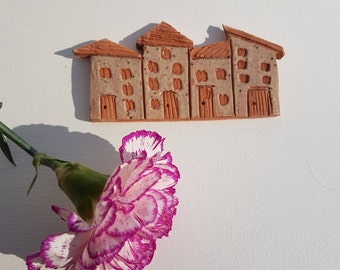 Quirky housewarming gift ceramic row of houses to brighten up your mantelpiece or shelf ornament