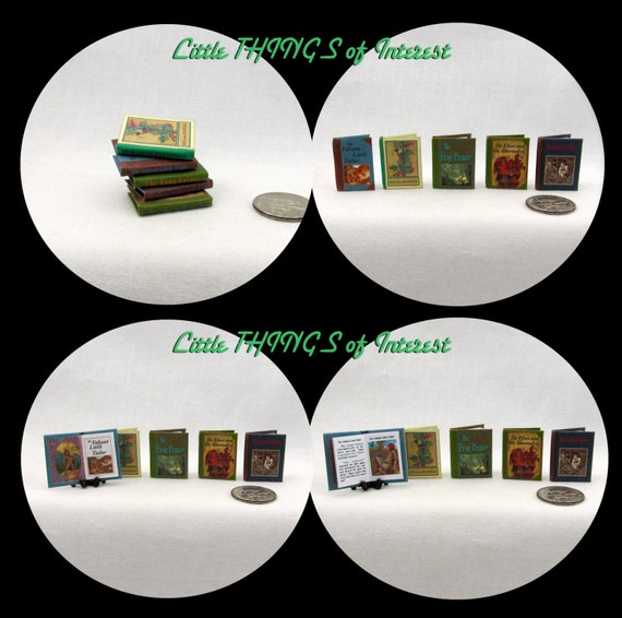 CLASSIC Children's Story Book Set of 5 Miniature Books Dollhouse 1:12 Scale Illustrated Books Jack Bean Stalk Elves Shoe Maker Frog Prince