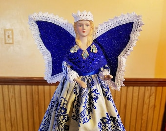 Blue and white angel tree topper, handmade blonde Christmas angel decor