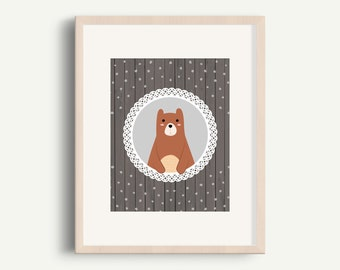 Bear -  Woodland nursery decor, Cute nursery animal print, Printable nursery wall art, Neutral nursery art, Bear print, 8x10