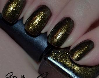 Who Dat? - Black and Gold Shimmer Nail Polish