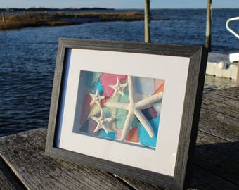 Mother's Day Gift, Faux Sea Glass & Natural Starfish Framed Art, Faux Sea Glass Wall Decor, Sea Glass Art, Gifts for Her