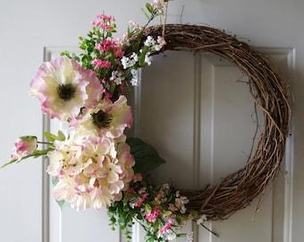 Spring SALE Summer Wreath, Spring Wreath, Hydrangea Wreath,Door Wreath, Cream Pink Wreath
