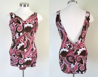 1950s Pin Up Bathing Suit / Mid Century 1960s One Piece Swimsuit