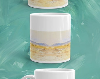 Landscape Mug, Egypt, Pencil Sketch Colored Mug, Ceramic Coffee Mug, Tea Mug