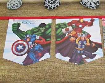 Avengers Birthday Party Bunting - Superhero Thor Iron Man - Captain America The Hulk