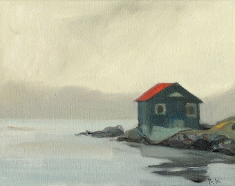 """Sale 50% off Beach Decor  """"Lonely cottage """" Oil Painting by SEASTYLE FREE SHIPPING"""