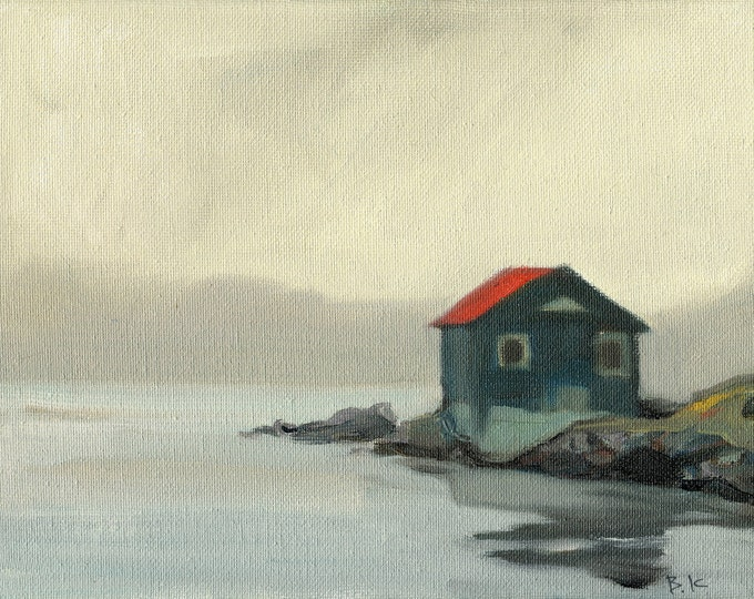 "Sale 50% off Beach Decor  ""Lonely cottage "" Oil Painting by SEASTYLE FREE SHIPPING"