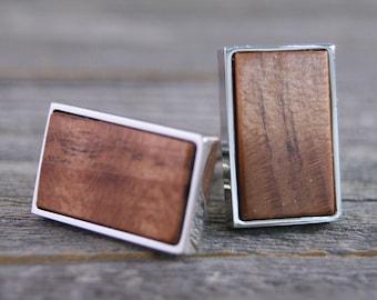 Men's Cufflinks Handmade from California Redwood in Silver Bezel