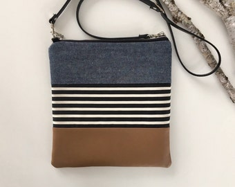 Denim, Stripes & Vegan Crossbody Purse // Crossbody Bag // Fabric Purse // Handmade Bag