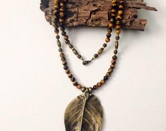 Tiger's Eye Leaf Necklace
