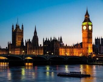 London Photography -- Big Ben and Wesminster at Twilight London Art, London Print, London Skyline, Sunset Photography