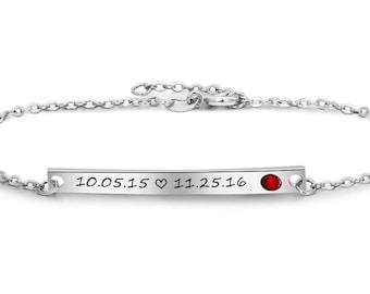 Memorable Bracelet - NamePlate Bracelet- Actual Handwriting - Date - With Birthstone - Letter Bracelet - Custom Bar Bracelet - Anniversary