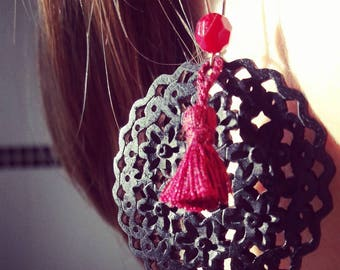 Flamenco earrings black and plum