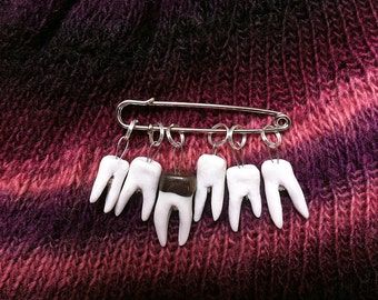 Wisdom Tooth Stitch Markers handmade porcelain snag-free knitting accessory