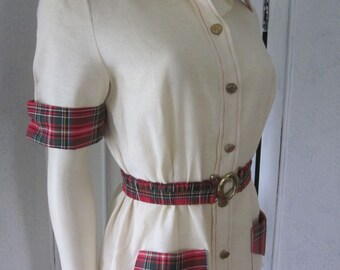 1960s Light Beige Cotton Jacket with Red Plaid Trim, Size 6