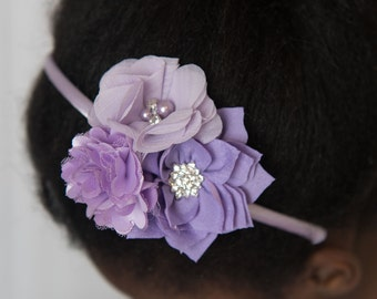 Lavender headband, purple flower headband, girl hair accessory, girl birthday gift, purple hard headband, photography prop, wedding headband