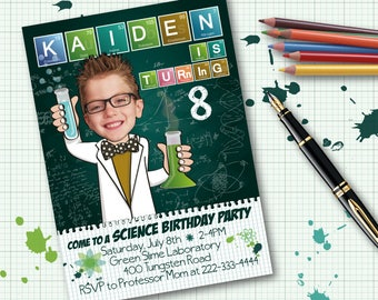 Science Birthday Party Invitation for boy or girl - Personalized with your photo DIGITAL FILE