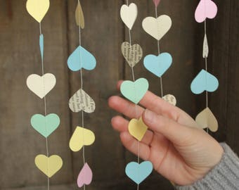 Sweetheart Decoration, Valentine Garland, Paper Hearts Garland, Valentine Decoration, Paper Garland, TINY Hearts, 10 feet long