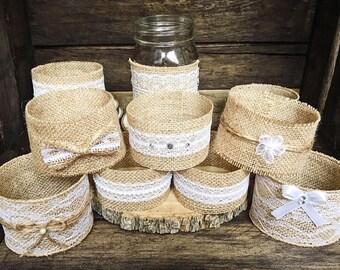 Set of 10 Mason jar sleeves, wedding decor, rustic wedding, wedding centerpieces, mason jar centerpieces, burlap mason jar sleeves,