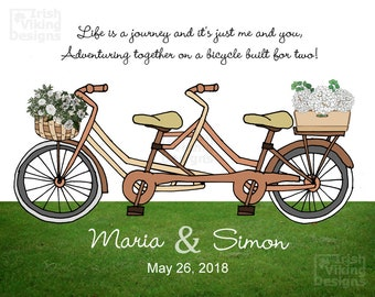 personalized wedding gift,bicycle built for 2,custom art print,engagement gift,housewarming couple,flowers bicycle basket,newlywed adventure