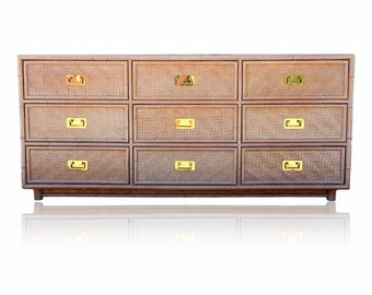 VVH Vintage Woven Rattan and Faux Bamboo Dresser Wrapped Nine Drawer Credenza Campaign Wicker Coastal Boho Palm Beach Island Style Tropical