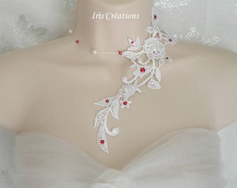 Wedding Sofia pearls white lace collar and white and Red swarovski rhinestones