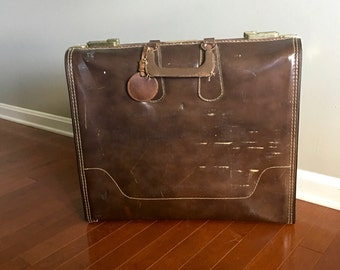 Vintage Suitcase - Brown Suitcase - Brown Briefcase - Retro Luggage - Mid Century Luggage - Retro Briefcase