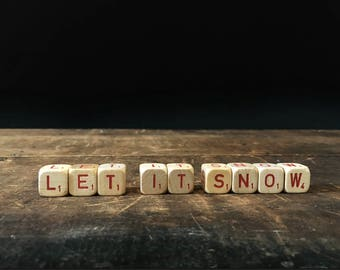 Vintage Let It Snow Sign, Christmas, Letter Blocks, Scrabble Blocks, Rustic Decor, Scrabble Cubes, Letter Tiles