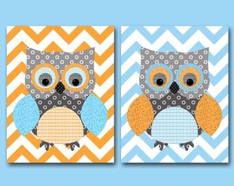 Owl Decor Owl Wall Decor Owl Nursery Art for Children Kids Wall Art Baby Boy Room Baby Boy Nursery Print Baby Nursery Decor set of 2