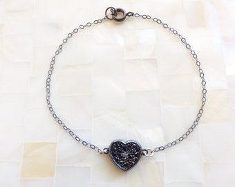 Gunmetal Sterling Silver Pave Black CZ Heart Connector on an Oxidized Sterling Silver Chain Bracelet (B1140)