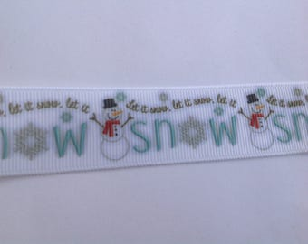 "1""  Snowman - Let it snow Let it snow inspired Grosgrain Ribbon  -  By The Yard"