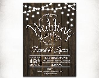 Wedding Reception Invitation / Rustic Printable Wood Invitation / Fairy String Lights / Digital Printable Invitation / Customized