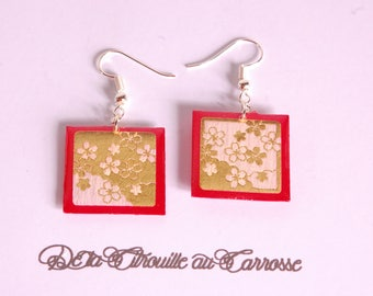 Gold floral pattern, red, Japanese style earrings