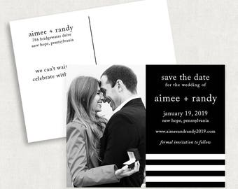 Stripe Save the Date Postcards, Modern Save the Date Postcards, Black and White Save the Date Postcards, Printable Save the Date Postcards