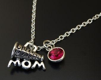 Cheerleader Mom Necklace, Cheerleader Mom Charm, Cheerleader Mom Pendant, Cheerleader Mom Jewelry, Cheer Mom Necklace, Cheer Team Gifts