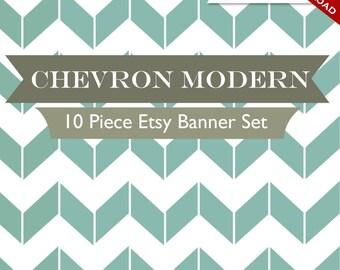 Custom Etsy Banner and Avatar Design Set - 11 Piece Modern Chevron Minimalist Retro DIY Template - mdc - Geometric ZigZag Cyan Teal