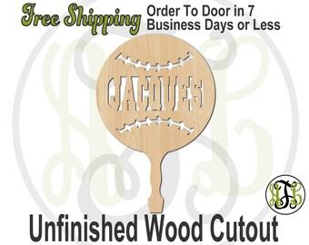 Baseball / Softball Paddle Sign with Name- 990007NA Cutout, unfinished, wood cutout, wood craft, laser cut wood, wood cut out, Sports