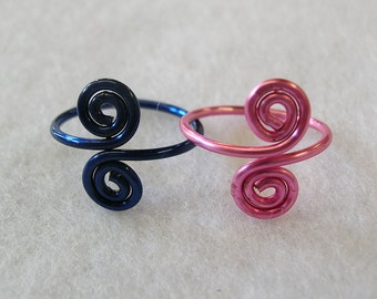 Adjustable Toe Ring - Set of TWO Toe Rings Colored Copper Pink & Dark Blue - Body Jewelry - Summer Accessories - Gift For Her - Teen Jewelry