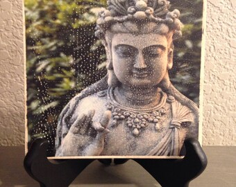 Female Buddha shunya mudra tile