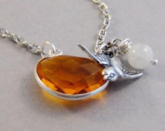 Karma's Song,Orange NEcklace,Quartz Necklace,Orange Quartz,Halloween,Fall Necklace,Quartz,Gemstone,Crystal,Silver,Bird, valleygirldesigns
