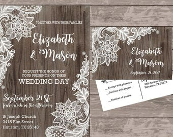 Rustic wood and lace Wedding Invitations, Lace Invitations, Personalized wedding stationery, budget wedding invites