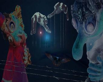 Marionettes digital art print by Violet Tantrum