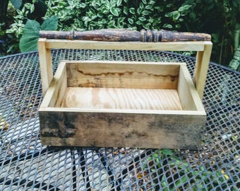 Hand Made Wooden Planter Tool Box or Caddy from Salvaged Lumber