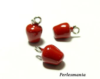 2 pendants charm 2Y9602 red apples for jewelry making
