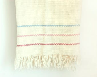 Vintage Faribo Striped Blanket, Faribault Wool Pink Blue Purple Stripe Acrylic Throw with Fringe, (Washable)