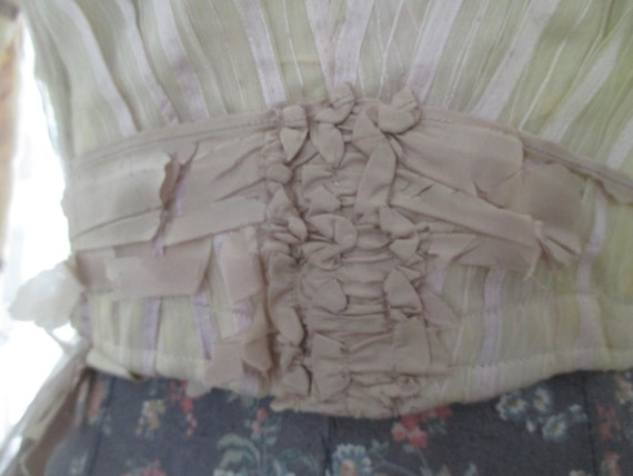 Tea Lavender Outfit Ribbon Victorian Skirt Pale Accents Dress Antique Ribbonwork K99 Woman's Silk Bodice zxXHtBaqw