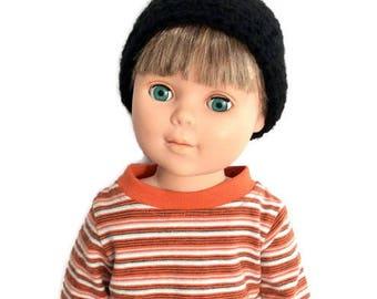 18 Inch Boy Doll Black Beanie, Black Crocheted Doll Hat, Boy Doll Clothes, Made to Order