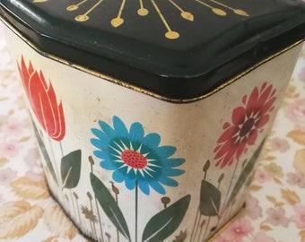 Vintage Tin, Floral Tin, Stylised Flower Design,  Storage Tin, Display Trinket Holder, Kitchen Storage, Collectable Tin, French Vintage Tin