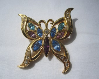 Butterfly Pin with Blue, Aqua and Purple Rhinestones